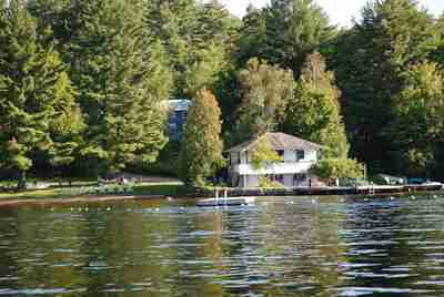 Clyffe House waterfront; raft, swimming area, beach and main dock
