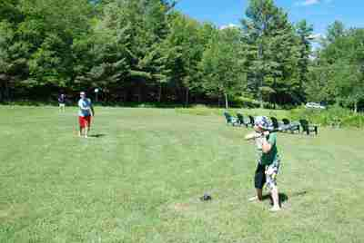 Playing baseball on one of Clyffe House's several large lawns